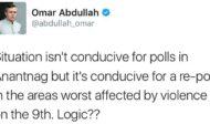 Omar questions logic behind holding repoll in Srinagar