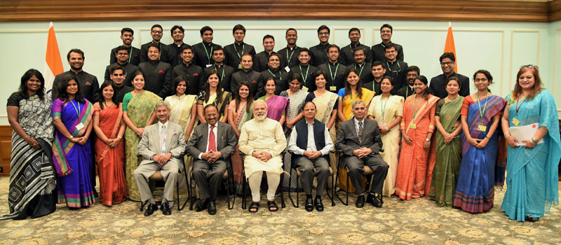 he Prime Minister, Shri Narendra Modi in a group photograph with the Indian Foreign Service Officer Trainees, in New Delhi